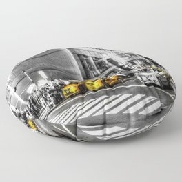 Yellow Taxis Monochrome World Floor Pillow