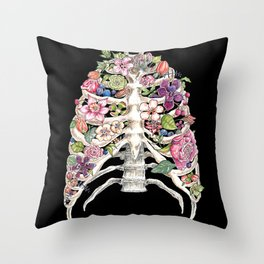 """Blooming on the Inside"" - Flowers in Ribcage Throw Pillow"