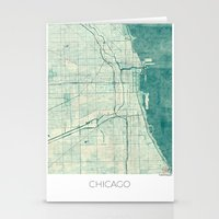 chicago map Stationery Cards featuring Chicago Map Blue Vintage by City Art Posters