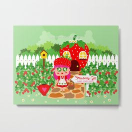 Strawberry Girl Metal Print