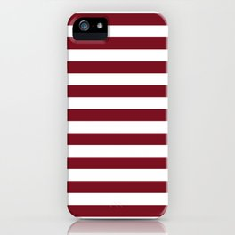 Deep Dark Red Pear and White Horizontal Beach Hut Stripe iPhone Case