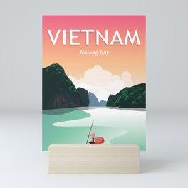 Vietnam halong bay travel poster Mini Art Print