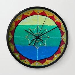 Chakra Mandala - Solar Plexus, Heart Charka & Throat Chakra  Wall Clock