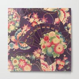 Hyakka Ryoran Kimono Inspired Metal Print