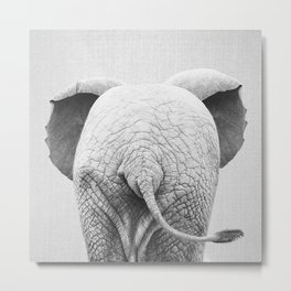 Baby Elephant Tail - Black & White Metal Print