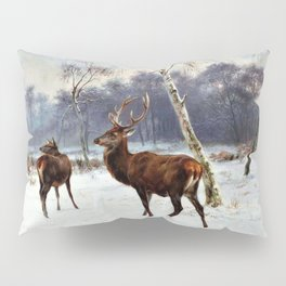 Rosa Bonheur - Deer And Doe In A Snowy Landscape - Digital Remastered Edition Pillow Sham
