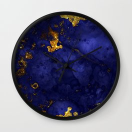 Gold Blue Indigo Malachite Marble Wall Clock