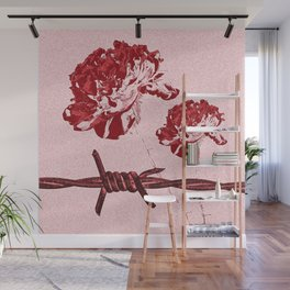 Barbed Wire Peony Print Wall Mural
