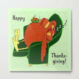 Sleeping Turkey with Pumpkin Pie, green  Metal Print