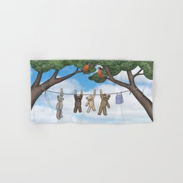 robins, poppies, & teddy bears on the line Hand & Bath Towel