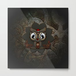 Cute little steampunk owl with floral elements Metal Print