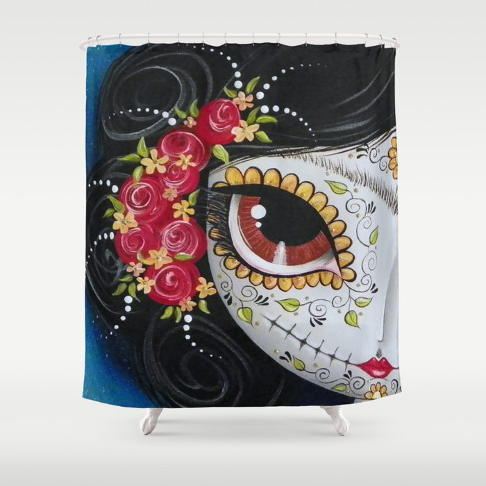 Frida Day Of The Dead Shower Curtain
