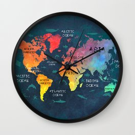 world map 49 color Wall Clock