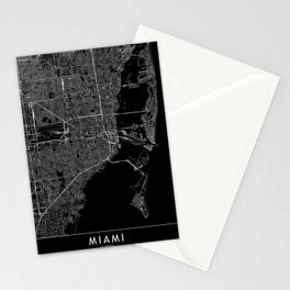 Miami Black Map Stationery Cards