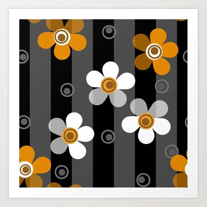 Black and yellow floral pattern on a striped background . Art Print