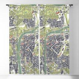 Prague map engraving Blackout Curtain