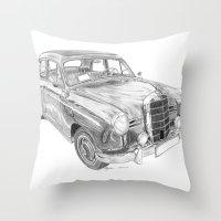 mercedes Throw Pillows featuring Mercedes-Benz 180 by Gábor Vida