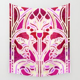Pink Purple and Red Art Nouveau Batik Pattern Wall Tapestry