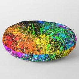 Black Rainbow Color Splatter Floor Pillow