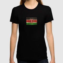 Vintage Aged and Scratched Kenyan Flag T-shirt