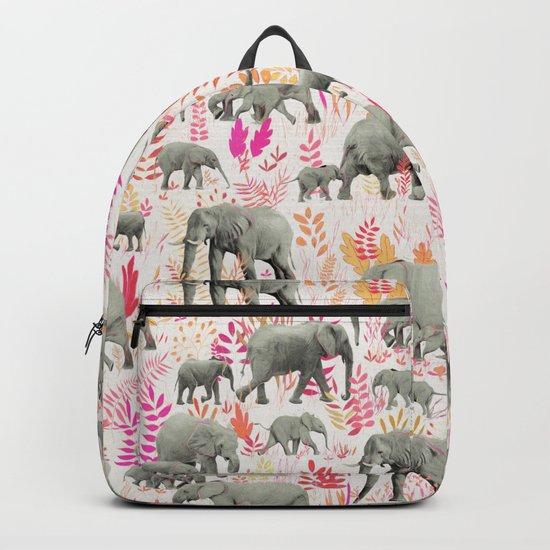 Sweet Elephants in Pink, Orange and Cream Backpack