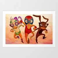 mucha Art Prints featuring Mucha Lucha by ratchetxxo