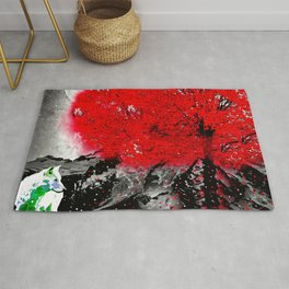 TREE RED WOLF WHITE Rug