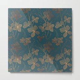 Copper Art Deco Flowers on Emerald  Metal Print