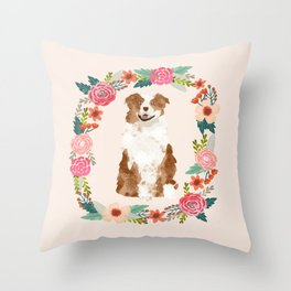 australian shepherd red merle floral wreath dog gifts pet portraits Throw Pillow