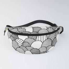 Striped Scallops - Black Fanny Pack