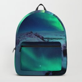 Aurora Borealis Over A Waterfall Backpack