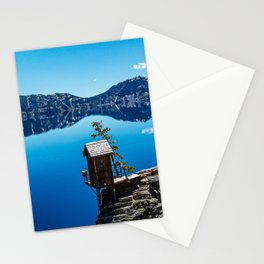 Outhouse on the Cliff // Crater Lake National Park Crystal Clear Blue Waters and Sky Stationery Cards