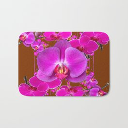 Coffee Brown Color Abstracted Modern Purple Moth Orchids Bath Mat