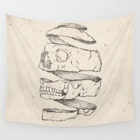 skull Wall Tapestries featuring Twister Skull by Mike Koubou
