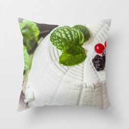 Fantasy of ricotta cheese, berries, dried figs and fresh mint Throw Pillow