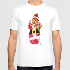 Red & Green Tidings White Mens Fitted Tee MEDIUM