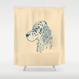 English Setter (Beige and Navy) Shower Curtain