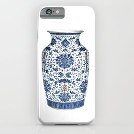 Blue & White Chinoiserie Porcelain Vase with Chrysanthemum iPhone Case