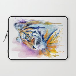 Young Tiger Watercolor Portrait Laptop Sleeve