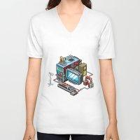 8bit V-neck T-shirts featuring 8bit computer by Sergey Kostik