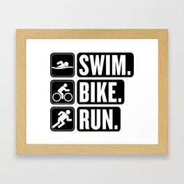 Swim Bike Run Block 2 Framed Art Print