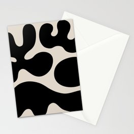 Mid Century Modern Organic Abstraction 351 Black and Linen White Stationery Cards