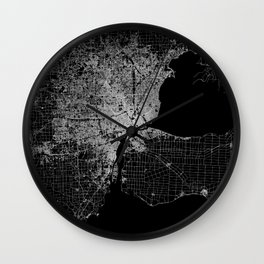 Detroit map  Wall Clock
