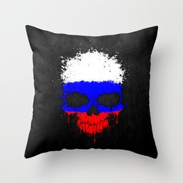 Flag of Russia on a Chaotic Splatter Skull Throw Pillow