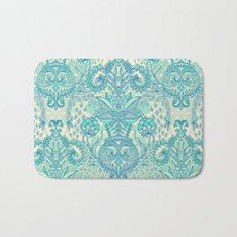 Botanical Geometry - nature pattern in blue, mint green & cream Bath Mat