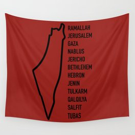 Palestinian Cities x Red Wall Tapestry