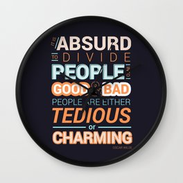 Oscar Wilde Charming Quote Poster Wall Clock