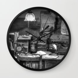 Old office in mono Wall Clock