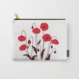 Bright floral pattern on a white background with decorative elements. Carry-All Pouch