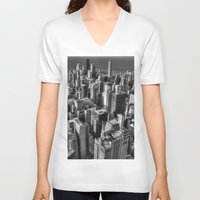chicago V-neck T-shirts featuring Chicago by Claude Gariepy